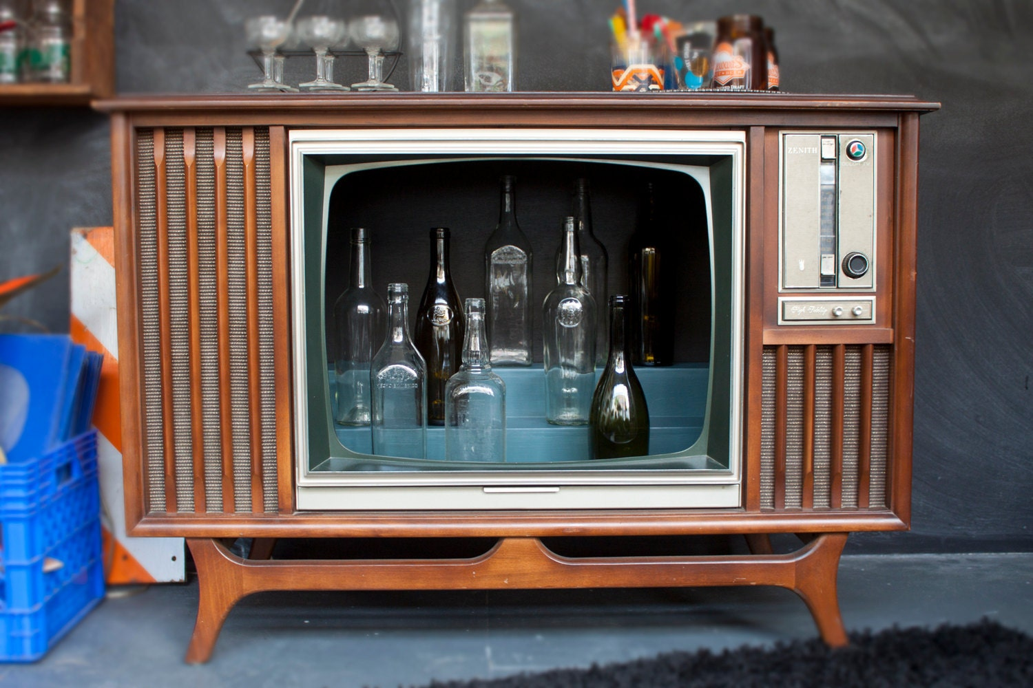 Vintage Tv Television Cocktail Bar Cabinet Handmade