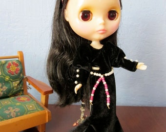 Black Velvet Goth Elvira Dress, Headband and Belt Set for Blythe