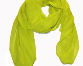 fluorescent chartreuse silk chiffon scarf
