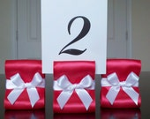 Wedding Table Number Holders - Set of Twenty Five (25) with Red and White Satin Ribbon- Customize Your Colors