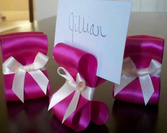 Items similar to table settings wedding decor fuchsia for Place settings name card holders