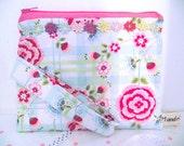 Floral linen Zipper pouch with strap