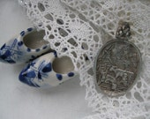 Dutch silver scene pendant with cows and windmill -hostess- travel-backpackers-