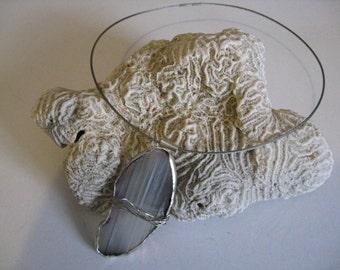 Agate Pendant in silver wrapped white grey agate, included silver colored necklace chain - Birthstone Gemini and Scorpio