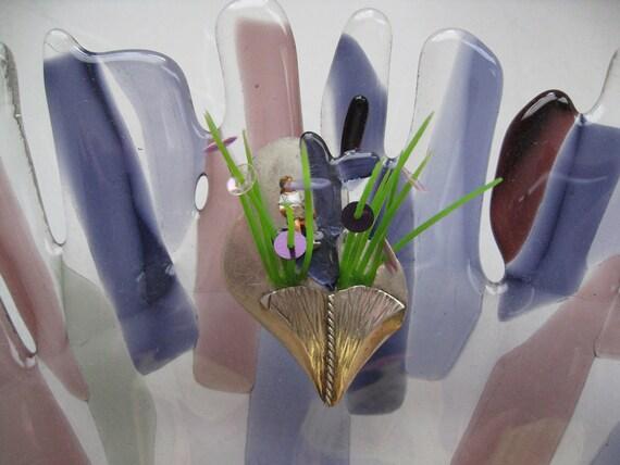 Garden Brooch silver fused glass tiny-people line-miniature art pinbrooch-Award brooch-Botanical Floral jewelry-Dutch fashion art-Terrariums