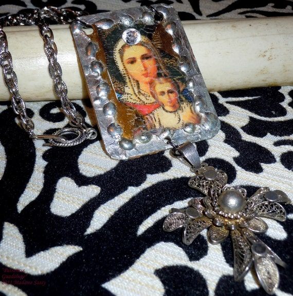 Guadalupe -- OOAK Metal Assemblage Necklace with Antique Crucifix by Sinful Solace