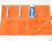 Terrycloth Toothbrush and Paste Travel Roll in Tangerine Orange...A Pinterest Favorite...great little gift...free shipping