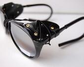 Steam Punk Black Sunglasses Goggles Deadstock A57