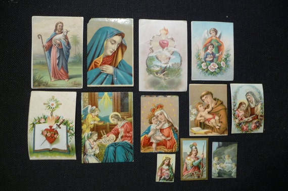 Collection of 12 antique holy cards Colored lithos Various images