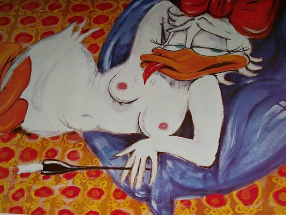 """SALE  """" Daisy Duck """" in an Original Vintage Poster  """"Odalisque"""" 1966"""
