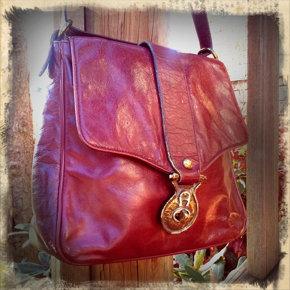 A is FOR AWESOME    ///    Etienne Aigner Oxblood Leather Satchel