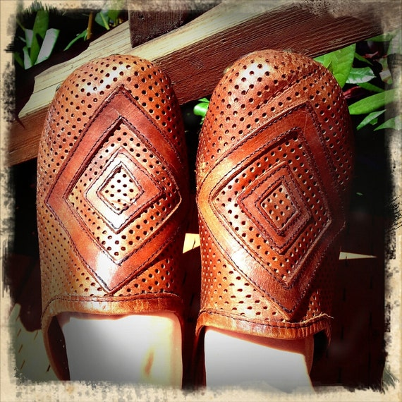 WOOD   ///   Perforated Brown Leather Clogs