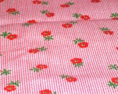 """Vintage Fabric Red and White Ticking with Red Flowers  58""""L x 39""""W -DESTASH"""