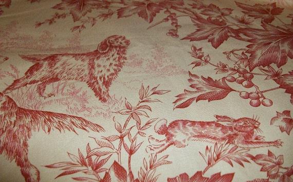 "Brunschwig & Fils Fabric Birds Dogs Hunt Toile ""On Point"" (2) Two Yards x 54""W -Fabric Destash"