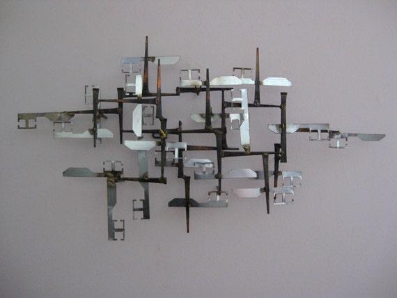Mid Century Modern BRUTALIST Cut Metal, Nail & Brass WALL Sculpture-EAMES Era