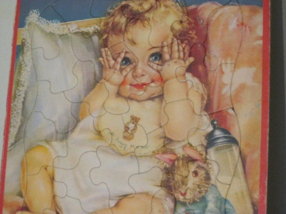 Peek-a-Boo Baby and Bunny Vintage Puzzle by Charlotte Becker -1950's