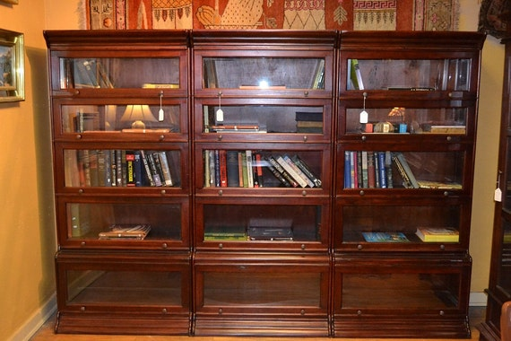 Items Similar To Mahogany Barrister Bookcase Stacking Bookcase 99 Inches Wide On Etsy