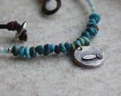 Fine Silver Trout Necklace- Turquoise Necklace, Amazonite, River Necklace, Leather Necklace, Organic Silver