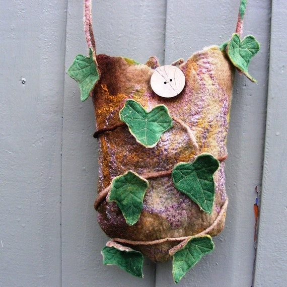 Ancient Ivy Faerie Bag Purse Pouch Hand Rolled Felt
