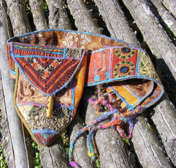 Upcycled Tribal Utility Belt Bag 32-35 inches Pixie Festival