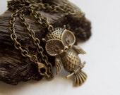 Charming Owl Necklace Antique Brass- Charm Beaded Owl Jewelry Jewellery