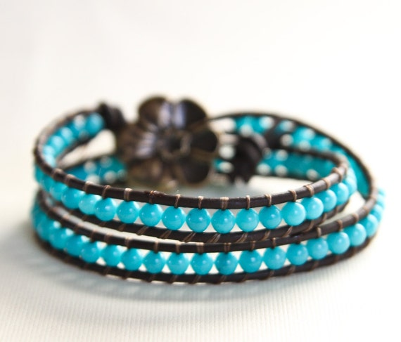 Leather Cuff Bracelet Double Wrap Blue and Brown Beaded Bracelet Jewelry -- Ready to Ship-- Chan Luu Style