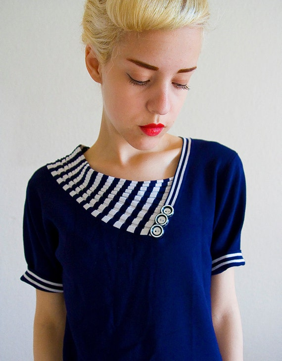 Nautical Sailor blouse with Striped Collar and Buttons