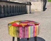 Re-upholstered 1960s Footstool Rainbow Velvet Patchwork