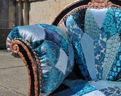 Redesigned 1930s Mini Chaise Longue, Blue Velvet Chair, Patchworked Art Deco, Copper Leaf