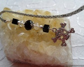 Onyx , Agate Diamante Skull Bookmark - Teen GOTH, Root/Base Chakra Jewelry, End of School Gift, Teachers Present