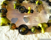 Chunky Green Branch Coral and Dragon Vein Agate Necklace, Heart Chakra Jewellery