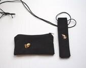 Black luxurious e-cigarette double case with yellow tiger decorative stones 011212