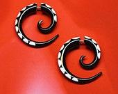 Fake Gauge, Small Horn Spirals, Bone Inlaid Earrings, Handmade, Organic, Fake Plugs, Tribal, Cheaters, Split Expanders, Organic - H05