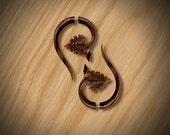 Fake Gauge Earrings - Grape Leaf Drop - Tropical Wood, Tribal Earrings, Handmade, Split, Cheaters, Organic, Plugs, Eco Friendly - W13
