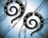 Fake Gauges - Tribal Jewelry, Eco-Friendly, Split, Handmade, Split, Organic, White Inlaid Short Tail Spirals - Black Horn Earrings - H11
