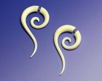 Fake Gauge, Zuriel Spiral Tails, Organic, Bone Earrings, Handmade, Cheaters, Fake Plugs, Tribal Jewelry, Tribal Earrings, B04