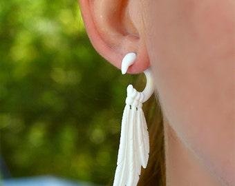 Fake Gauges, Fake Gauge Earrings, Tribal Earrings, BOHO Earrings, Gypsy Earrings, Organic Jewelry, Tribal Jewelry, White Bone Earrings - B03