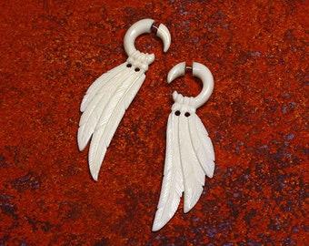 Fake Gauge, Ansel Wings, Tribal Earrings, Faux Gauges, Split, Cheaters, Handmade, Organic, Plugs, White Bone - B3
