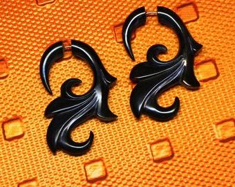 Fake Gauge, Floral Curls, Handmade, Organic, Tribal Jewelry, Cheaters, Split, Plugs, Eco-Friendly, BOHO, Black Horn Earrings, H03