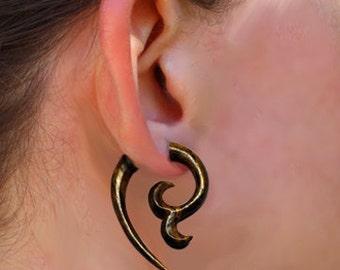Fake Gauge, Wooden Earrings, Charming Curls, Tropical Wood, Split Expanders, Tribal Earrings, Organic, Cheaters, Eco Friendly - W3