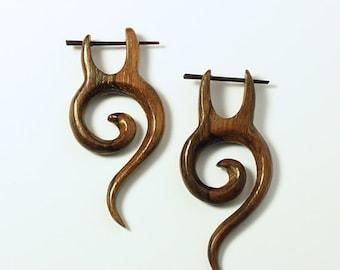 Wood Post Earrings, Small Spiral Tail, Tribal Earrings, Organic, Plugs, Tribal Jewelry, Eco Friendly, Sono Wood - WP15