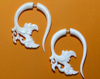 Garden Curls, Fake Gauge Earrings - White Bone Earrings - B13