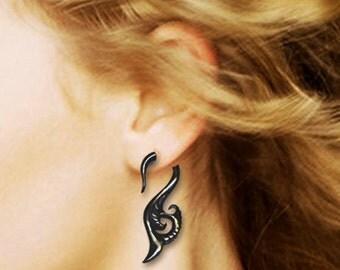 Seaside Curls, Fake Gauge Earrings, Black Horn Jewelry, Tribal Jewelry, BOHO Earrings, Fake Gauges, Eco Friendly, Organic Earrings - H06