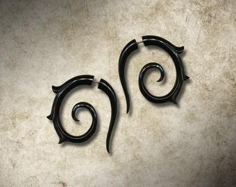 Lisbeth Spirals, Girl With The Dragon Tattoo, Fake Gauge, Horn Earrings, Split, Cheaters, Plug, Organic, Handmade - H21
