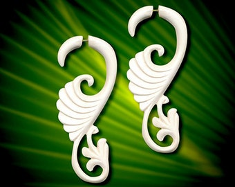 Eve's Curls  Fake Gauge, Tribal Earrings, Faux Gauges, Split, Cheaters, Handmade, Organic, Plugs, White Bone, B21