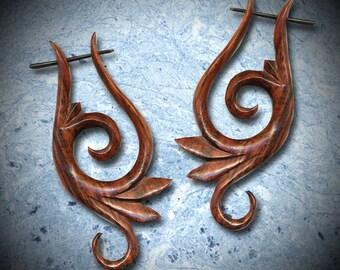 Tribal Earrings, Wooden Post Earrings, Fake gauges, BOHO Earrings, Organic Earrings, Gypsy Earrings,BOHO,  Eco Friendly, Tribal Jewelry WP8