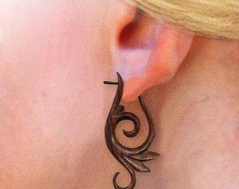 Wood Post Earrings - Zena Curls - Brown Sono Wood , Tribal Earrings, Organic, Split, Plugs, Eco Friendly, Tribal Jewelry- WP8