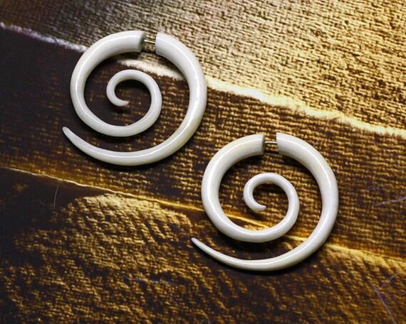 Fake Gauge, Large Tribal Spirals, Split, Handmade, Cheaters, Organic, Plugs, White Bone Earrings - B05