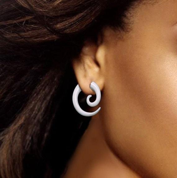 Small Bone Spirals, Fake Gauge, Organic, Handmade, Cheaters, Split, Plugs, Trtibal Earrings - B14