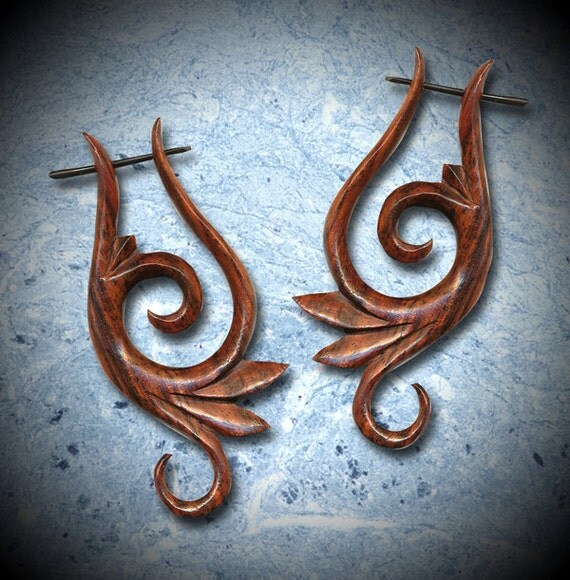 Tribal Earrings, Wooden Post Earrings, Fake gauges, BOHO Earrings, Organic Earrings, Gypsy Earrings,BOHO,  Eco Friendly, Tribal Jewelry WP8